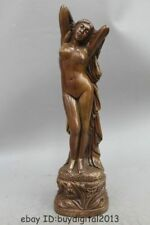 "17"" Western Pure Copper Bronze illusion nude maiden belle statuary Statue"