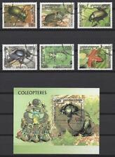 Insectes Cambodge série complète et bloc correspondant oblitérés (6)