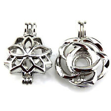 21673 2X/lot Silver Plant Copper Rose Flower Bead Pearl Cage Locket Open Pendant