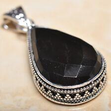 "Handmade Black Agate Onyx 925 Sterling Silver Vintage Design Pendant 2"" #P14140"