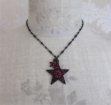 VINTAGE gioielli Pilgrim Gotico Nero Collana con Ciondolo Stella swarovski rosso nuovo con etichetta