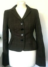 L K BENNETT Blazer Jacket Size 10 BROWN | Check WOOL Tailored Smart Office WORK