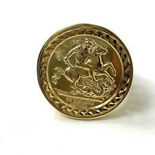 St George Gold Coin Ring 9ct Yellow Gold NEW 24.5mm 5.1g Size U Hallmarked