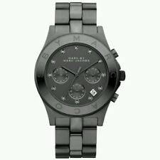 Marc by Marc Jacobs Womens Blade Chrono Gun Metal Black SS Watch MBM 3103