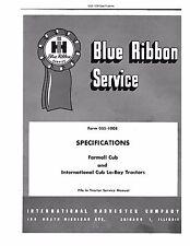 IH Farmall Cub - Lo-boy Tractor Specifications Service Manual IH GSS-1008
