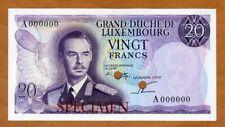 SPECIMEN, Color Trial Luxembourg 20 Francs, ND (1966) P-54Sctr, UNC > Rare