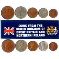 5 BRITISH COINS. DIFFERENT COINS FROM ENGLAND. FOREIGN CURRENCY, VALUABLE MONEY