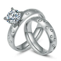 316L Stainless Steel Women Men CZ Wedding Engagement Bands Couple Rings Set 4MM
