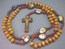 Rosary Necklace Wood Beads Crucifix Macrame Accent w Saint Images LATTE BROWN !!