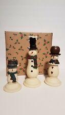 3 Piece Snowman Family Candleholders