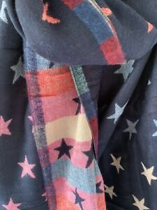 Navy Blue And Pastel Reversible Scarf With Jacquard Stars