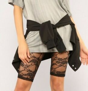Sheer Full Lace High Rise Pull On Biker Shorts Black Extra Extra Small XS S XXS