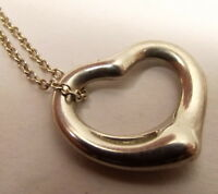 Auth Tiffany & Co Elsa Peretti Sterling Silver Necklace Open Heart Pendant Spain