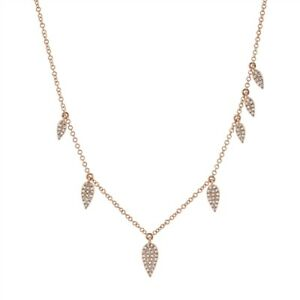 Pear Teardrop Diamond Necklace 14K Rose Gold Pendant Round Pave Womens Natural