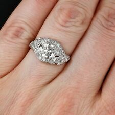 Certified 1.90ct Near White Moissanite Art Deco Engagement Ring 14K White Gold