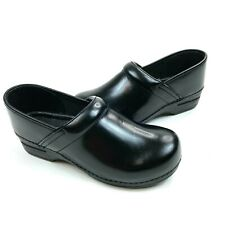 Dansko Professional Black Leather Slip Resistant Nursing Clogs Size 40 9.5-10US