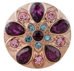 Rose Gold Purple Blue Pink Rhinestone Flower  20mm Snap Charm For Ginger Snaps