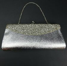Genuine Vintage MCM Silver Foil Shiny Fun Wedding Clutch Handbag Evening Purse
