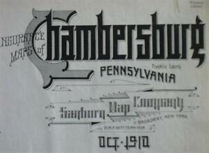 Original 1910 SANBORN Fire Insurance Plat Maps Atlas CHAMBERSBURG Pennsylvania