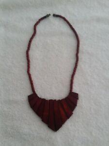 Vintage Art Deco Necklace, Wood
