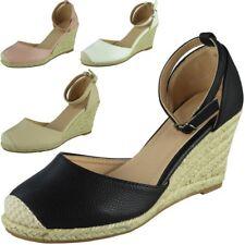 Womens Ladies Ankle Strap Espadrilles Platform Shoes Mid Heel Wedge Sandals Size