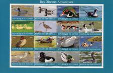 Congo 2017 CTO Water Birds 16v M/S Ducks Flamingos Grebes Waders Stamps