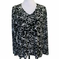 Chicos 3 Floral Tunic Top Blouse V Neck Black White Women Size XL Long Sleeve