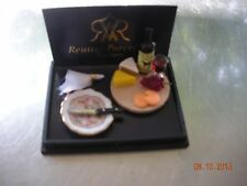 DOLLHOUSE MINIATURE INCH SCALE WINE AND CHEESE SETTING