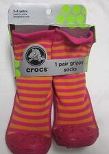 Crocs Girls Grippy Socks Shoe size 7-9 Toddlers age 2-4 Years  New