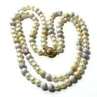 """VINTAGE 2 Strand Glass Ceramic PEARL Pastel BEADS NECKLACE Golden BOX CLASP 19"""""""