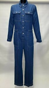 MARKS AND SPENCER M&S COLLECTION DENIM BUTTON POPPER DETAILED JUMPSUIT