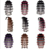Ladies Women Victorian Steampunk Black Bustle Tutu Belt Lace Underskirt