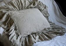 Linen pillowcase with big ruffles inside pocket ruffled bedding queen pillowca