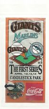 San Francisco Giants vs Marlins First Series Candlestick Park 1993 SGA Pin