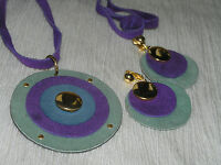 Vintage Demi Purple & Faded Green Suede Leather Layered Circles Necklace & Clip