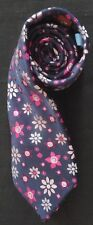 ST GEORGE BY DUFFER WOVEN SILK TIE IN BLUE PINK PURPLE LIGHT BLUE FLOWER HEADS