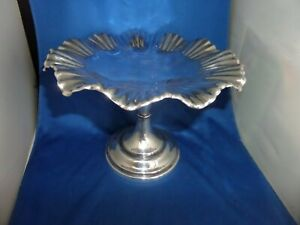 LOVELY VICTORIAN CAKE COMPORT STAND C.1897 MAPPIN & WEBB REG DESIGN SILVER PLATE
