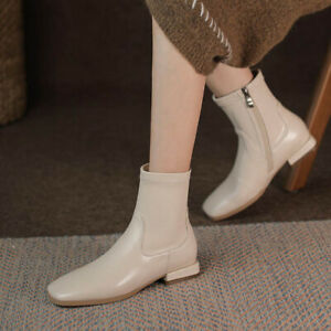 New Autumn Womens Square Toe Western Boots Flat Low Heel Zipper Ankle Boots Size