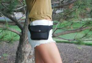 Black Cotton Fanny Pack Women Belt Bag Small Hip Bag Festival Bum Bag Simple