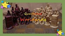 VINTAGE CHESS SETS PIECES MEN BOARDS LARGE WOOD RESIN WOODEN CARVED