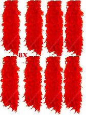 8X Feather Boa Red Ladies Burlesque Hen Night Halloween Showgirl Party Job Lot