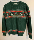 Abollria Ugly Tacky Christmas Reindeer Snowflakes Sweater Pullover Adult XXL