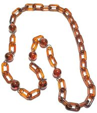 Vintage Retro Resin / Acrylic Faux Tortoise Ball And Chain Necklace