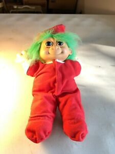 "Vintage Russ Troll 12"" Cloth Doll in Santa Claus Outfit Green Hair  #2338"