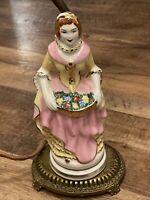 ANTIQUE ART DECO BEAUTIFUL GARDEN FLOWER LADY  PORCELAIN LAMP FIGURINE