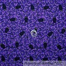 BonEful Fabric FQ Cotton Quilt Purple Sm OWL Black Swirl Halloween Harry Potter