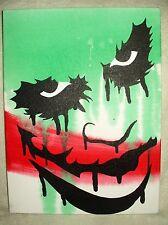 Canvas Painting Dark Knight Joker Face Drips Art 16x12 inch Acrylic