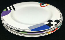 "Mikasa Maxima High Spirits Geometric 3 Dinner Plates 10.75"" CAK12 Colorful White"