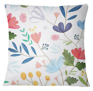 S4Sassy MultiColour Floral Print Decorative Pillow Case Square Cushion-aPU