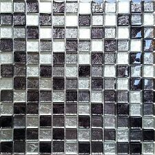 Black And Silver Glass Randomly Mixed Bathroom Kitchen Mosaic Tiles Sheet MT0004